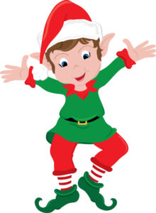 Clipart image of a happy little Christmas elf.