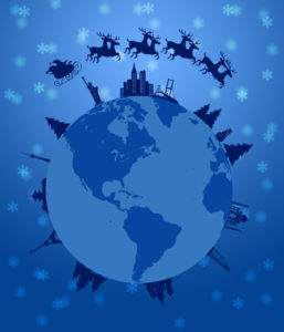 Santa Sleigh and Reindeer Flying Around the World Earth Globe Illustration